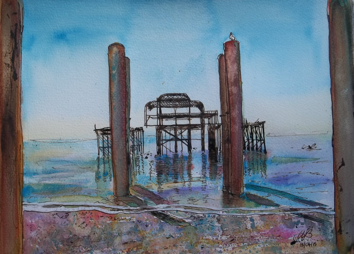 Down the line (Brighton West Pier), line and wash, £100