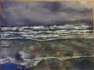 Waves breaking on Perranuthnoe beach, oil, 30 x 40cm, £170